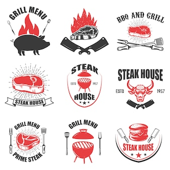 Set steak house emblemen. bbq en grill. elementen voor logo, label, embleem, teken. illustratie