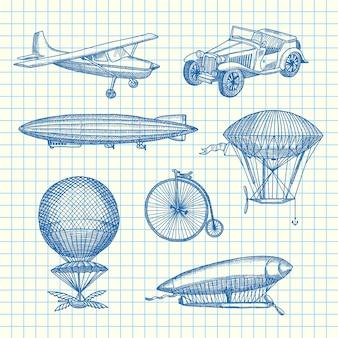 Set steampunk hand getekende luchtschepen, fietsen en auto's op papier blad illustratie