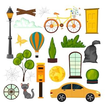 Set stedelijke objecten voor uw ontwerp cartoon-stijl.