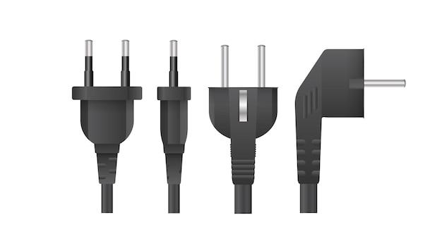 Set stekkers voor stopcontacten in 3d. de stekker voor het stopcontact is geïsoleerd. realistische vector.