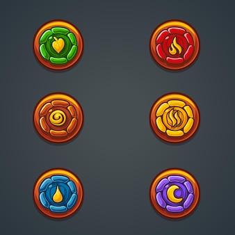 Set stenen elementen die verschillende elementen vertegenwoordigen