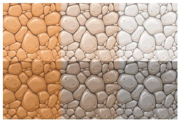 Set stenen oppervlakte naadloze patronen