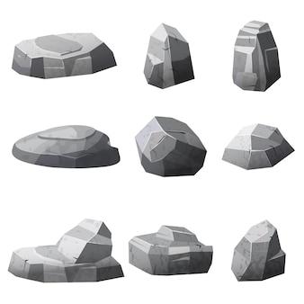 Set stenen rotsen spellen, toepassingen, cartoon stijl