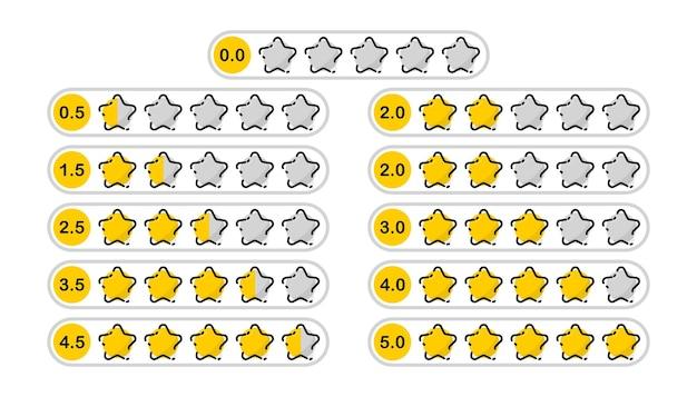 Set sterren van 1 tot 5. beoordeling en positieve recensie. online feedback reputatie kwaliteit klantbeoordeling. evaluatie van goederen, schrijven van beoordelingen van levering, hotels, voor een website of applicatie