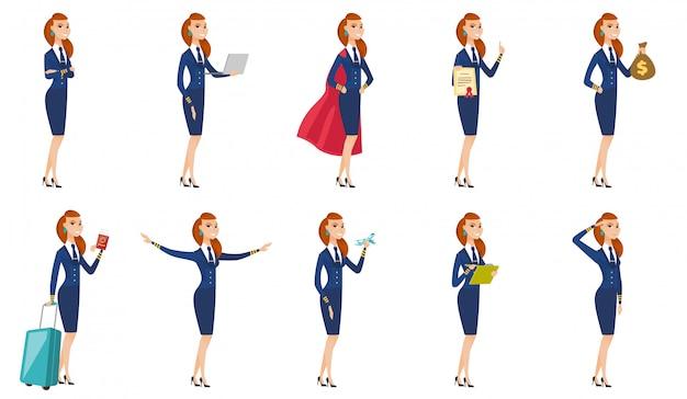 Set stewardess karakters.