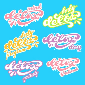 Set stickerontwerp met detox-opschrift. vector illustratie.