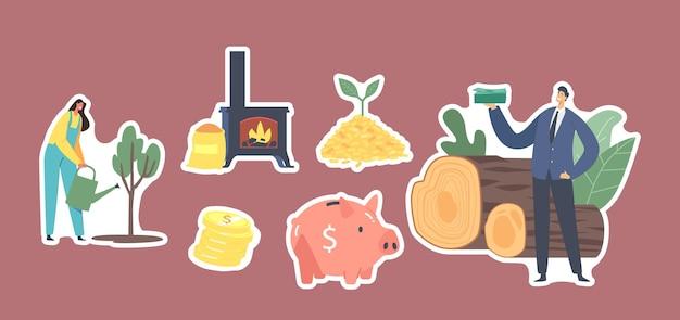 Set stickers bio kolen thema. vrouwelijke karakter drenken boom, zakenman met geld, brandende kachel, biggy bank en pellets stapel met groene spruit, gouden munten. cartoon mensen vectorillustratie