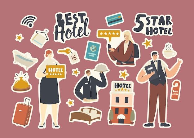 Set stickers five stars hotel topkwaliteit gastvrijheid. toerist, receptioniste en ober, gevel van het gebouw, bagage met bed, handdoek, bad en wifi-verbinding. cartoon vectorillustratie