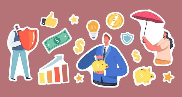 Set stickers fonds veiligheidsthema, zakenmensen personages met paraplu, spaarvarken en schild