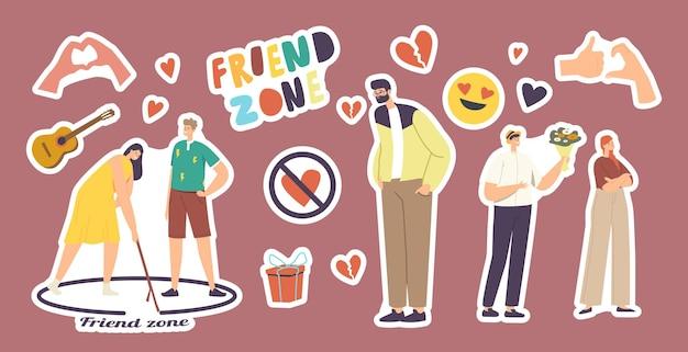 Set stickers friend zone-thema. man en vrouw in cirkel, gebroken hart, gitaar en handgebaren, ingepakt cadeau, smile emoji fall in love. friendzone geïsoleerde elenemts. cartoon vectorillustratie
