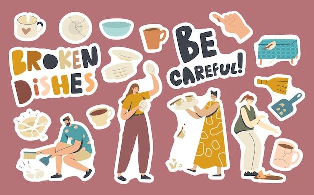Set stickers gebroken gerechten thema. vrouw gooien plaat, bloedende vinger, splitsingen en gebarsten kopjes en platen, tafel, man met scoop geïsoleerde design elements collectie. cartoon vectorillustratie