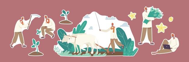 Set stickers indiase boeren tekens werken. landelijke man ploegen veld door koe en schoffel, planten en oogst verzamelen. landbouw werknemer gebruik laptop of apparaat. cartoon mensen vectorillustratie