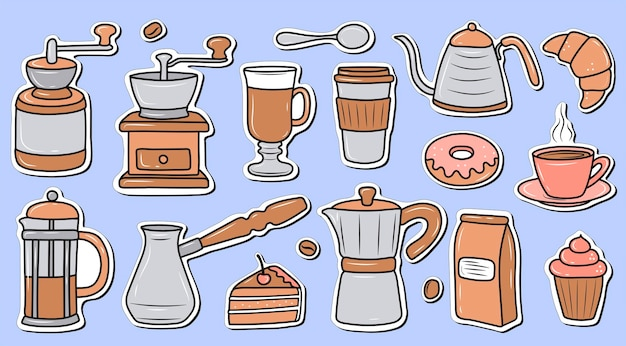 Set stickers koffie tijd koffiemolen desserts een kopje koffie waterkoker illustratie in winkelwagen