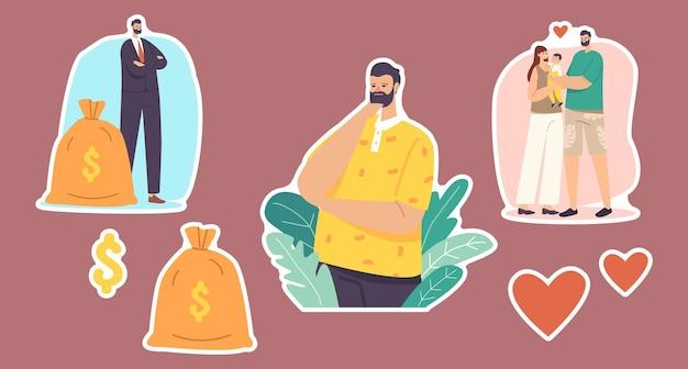 Set stickers mannen keuze. karakter kies tussen carrière en gezin. zakenman met geldzak, vader met kind