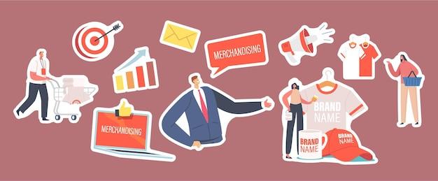Set stickers merchandising thema. personages met promotionele producten voor merkidentiteit. zakenman presenteren bedrijf, t-shirt, pet en mok met merklogo. cartoon mensen vectorillustratie