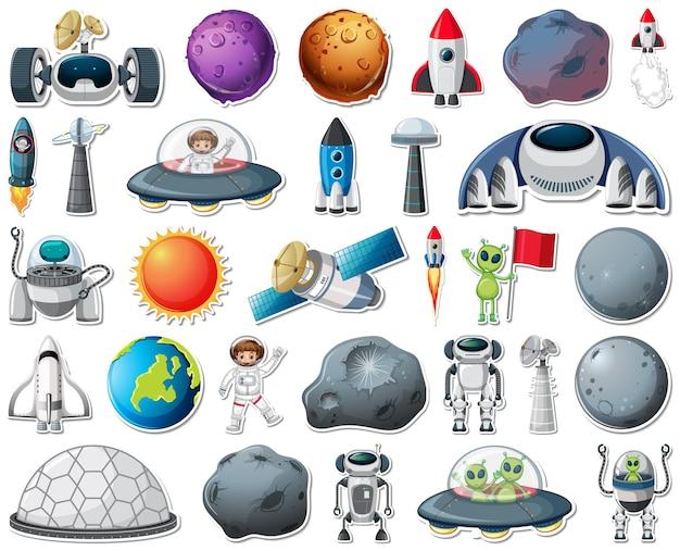 Set stickers met geïsoleerde objecten van het zonnestelsel