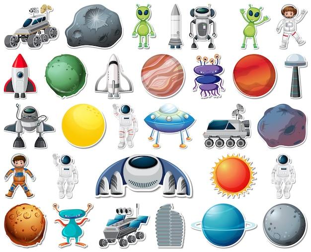 Set stickers met geïsoleerde objecten van het zonnestelsel Premium Vector