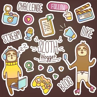 Set stickers met luiaard blogger. creatieve illustratie van streamer, thuis werken. een aantal abonnees, een populaire persoonlijkheid, sociale netwerken, berichten en video's. kleurrijke dagboekstickers.