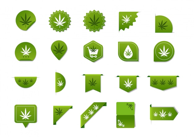 Set stickers met marihuanablad cbd olie label thc gratis pictogram hennep extract embleem ganja cannabis wiet badges collectie logo ontwerp plat horizontaal