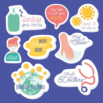 Set stickers met opschriften over coronavirus