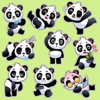 Set stickers met schattige panda's. schattige aziatische schattige beren in verschillende poses en emoties, bamboe stengel eten en lachen, spelen en slapen, platte cartoon vector teken kindercollectie