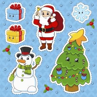 Set stickers met schattige stripfiguren, kerstthema
