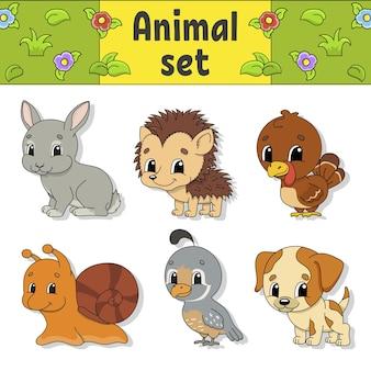 Set stickers met schattige stripfiguren