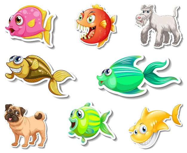 Set stickers met stripfiguur van zeedieren en honden