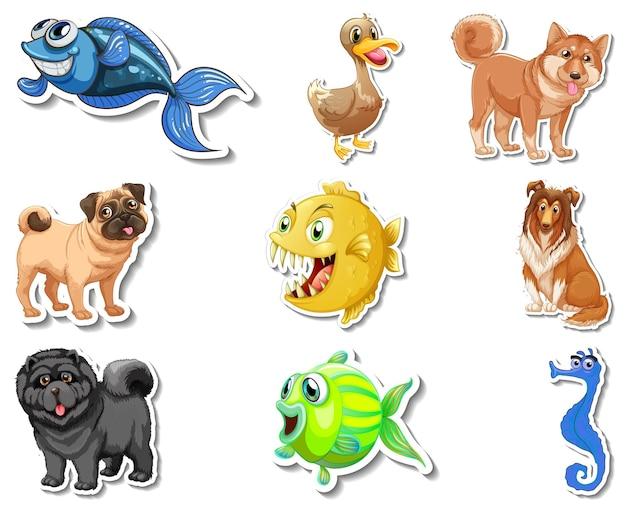 Set stickers met zeedieren en honden stripfiguur dogs