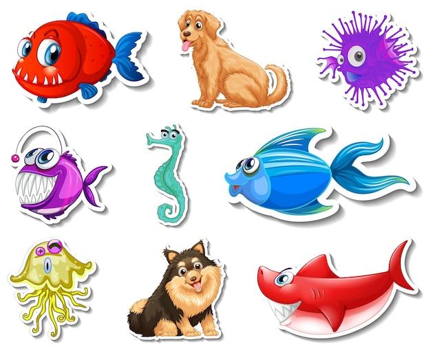 Set stickers met zeedieren en honden stripfiguur