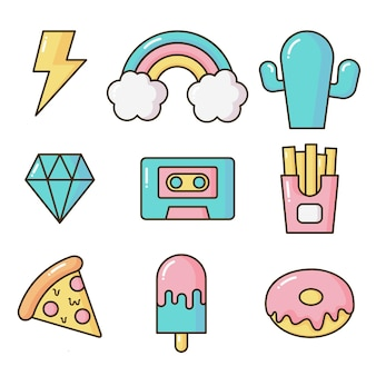 Set stickers of pictogram cartoon