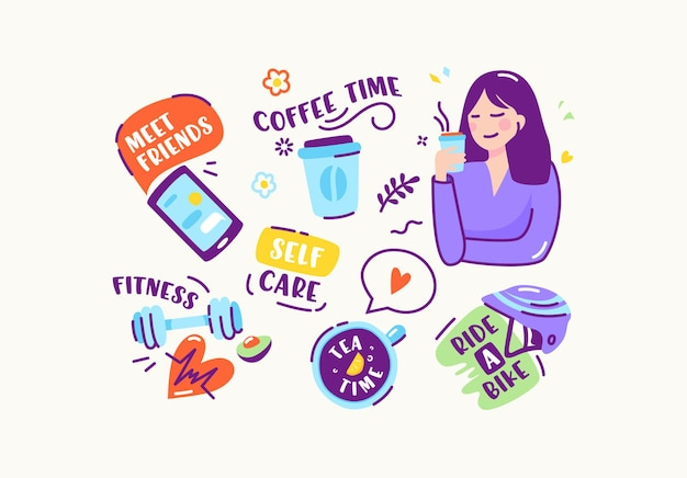 Set stickers of pictogrammen in doodle lineaire stijl. ontmoet vrienden, koffietijd, fitness, zelfzorg, fietsen, theetijd. smartphone, halter en fietshelm met meisje. cartoon vectorillustratie