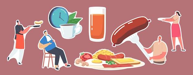 Set stickers-personages hebben engels volledig gebakken ontbijtspek, worstjes met gebakken eieren, bonen en toast met tomaat, champignons en sap. klok, thee en te veel eten man. cartoon vectorillustratie