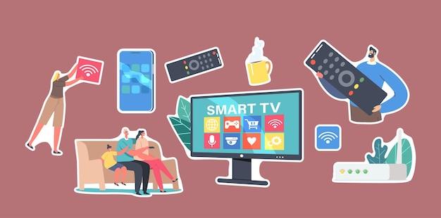 Set stickers smart tv-thema. familie tekens zittend op de bank kijken naar video, man met enorme met afstandsbediening smartphone met multimedia pictogrammen, box console, cartoon mensen vectorillustratie