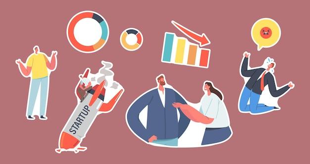 Set stickers startup crash-thema. gebroken raket, geschokt zakenmensen verlies en mislukken. managementfout en -probleem, slechte ervaring van werknemers, ongeluk en mislukking. cartoon vectorillustratie