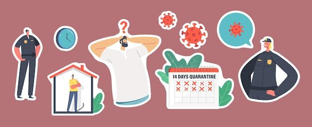 Set stickers tekens op quarantaine tijdens covid19 zelfisolatie. mensen met beschermende medische maskers, kalender, politieagenten. blijf thuis bij lockdown concept. cartoon vectorillustratie