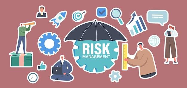 Set stickers tekens toegeven, identificeren, meten en implementeren van risicobeheer bedrijfsstrategie. kleine zakenman met enorme paraplu met office-pictogrammen rond. cartoon mensen vectorillustratie