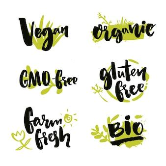 Set stickers voor natuurlijke producten en voedselpakket vegan ggo-vrij boerderij vers glutenvrij