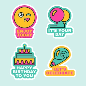 Set stickers voor verjaardagsfeestje leuke striplabels