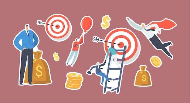 Set stickers zakelijke personages overwinnen obstakels-thema