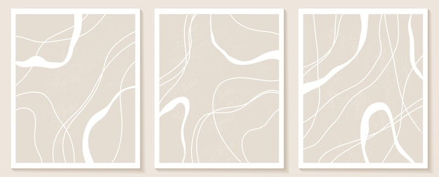 Set stijlvolle sjablonen met organische abstracte vormen en lijn in naaktkleuren. pastel achtergrond in minimalistische stijl. hedendaagse vectorillustratie