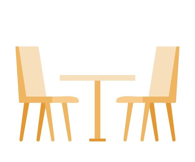 Set stoelen en tafel voor restaurants en cafés eenvoudige interieurobjecten om te eten