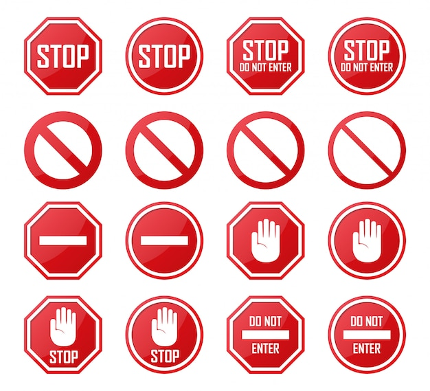 Set stop, no enter, verboden pictogrammen