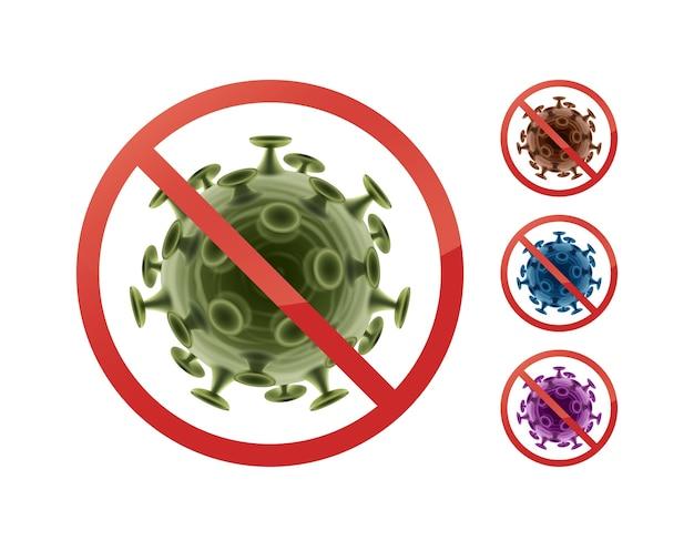 Set stop verbieden borden op bacteriën close-up vooraanzicht geïsoleerd op een witte achtergrond
