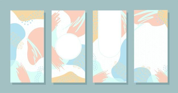 Set stories kleurrijke memphis moderne abstracte vormen tosca roze met zeshoek achtergronden vector