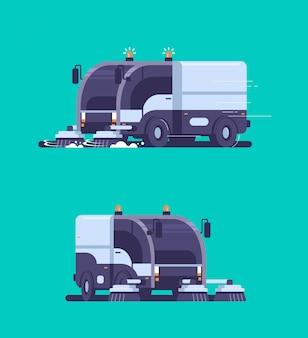 Set straatveger vrachtwagen industriële voertuig reinigingsmachine