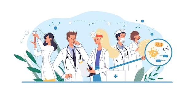 Set stripfiguren arts en verpleegsters in uniform, laboratoriumjassen met medische hulpmiddelen