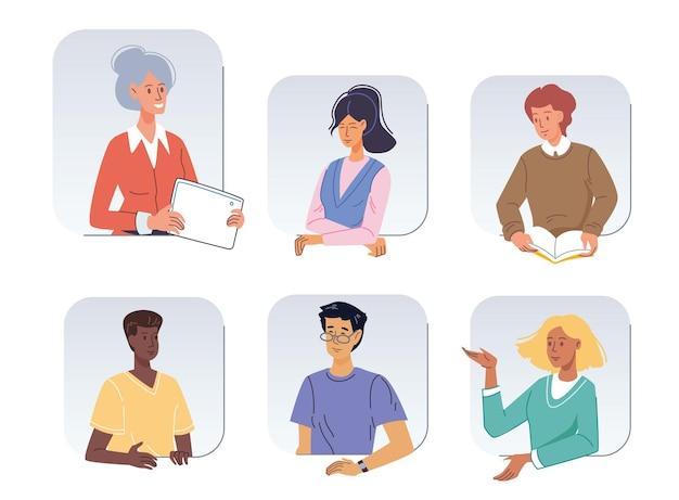 Set stripfiguren avatars van verschillende poses