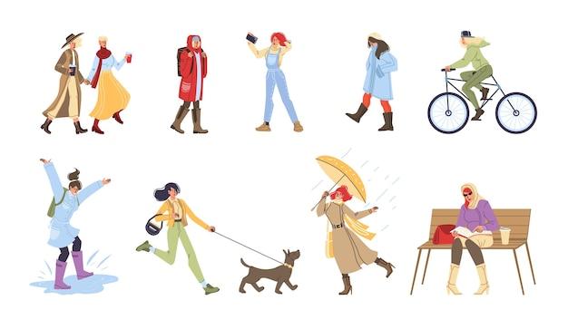 Set stripfiguren herfstactiviteiten doen, buiten wandelen