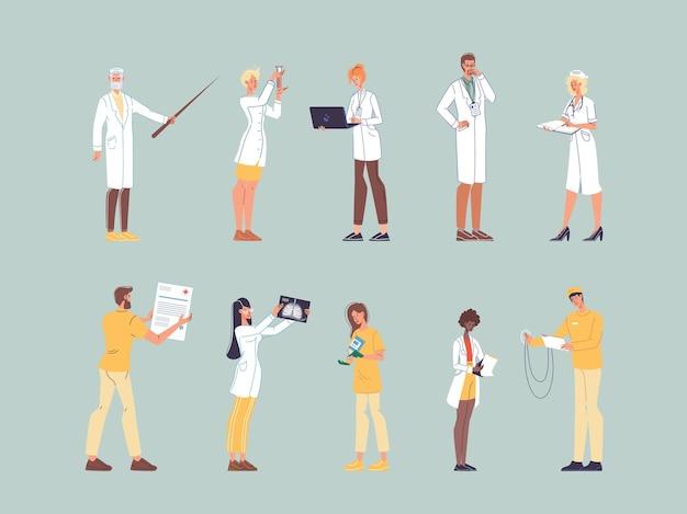 Set stripfiguren platte dokter op het werk